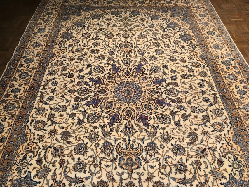 Vintage Persian Nain Gallery Size Rug 6 11 Ft X 10 9